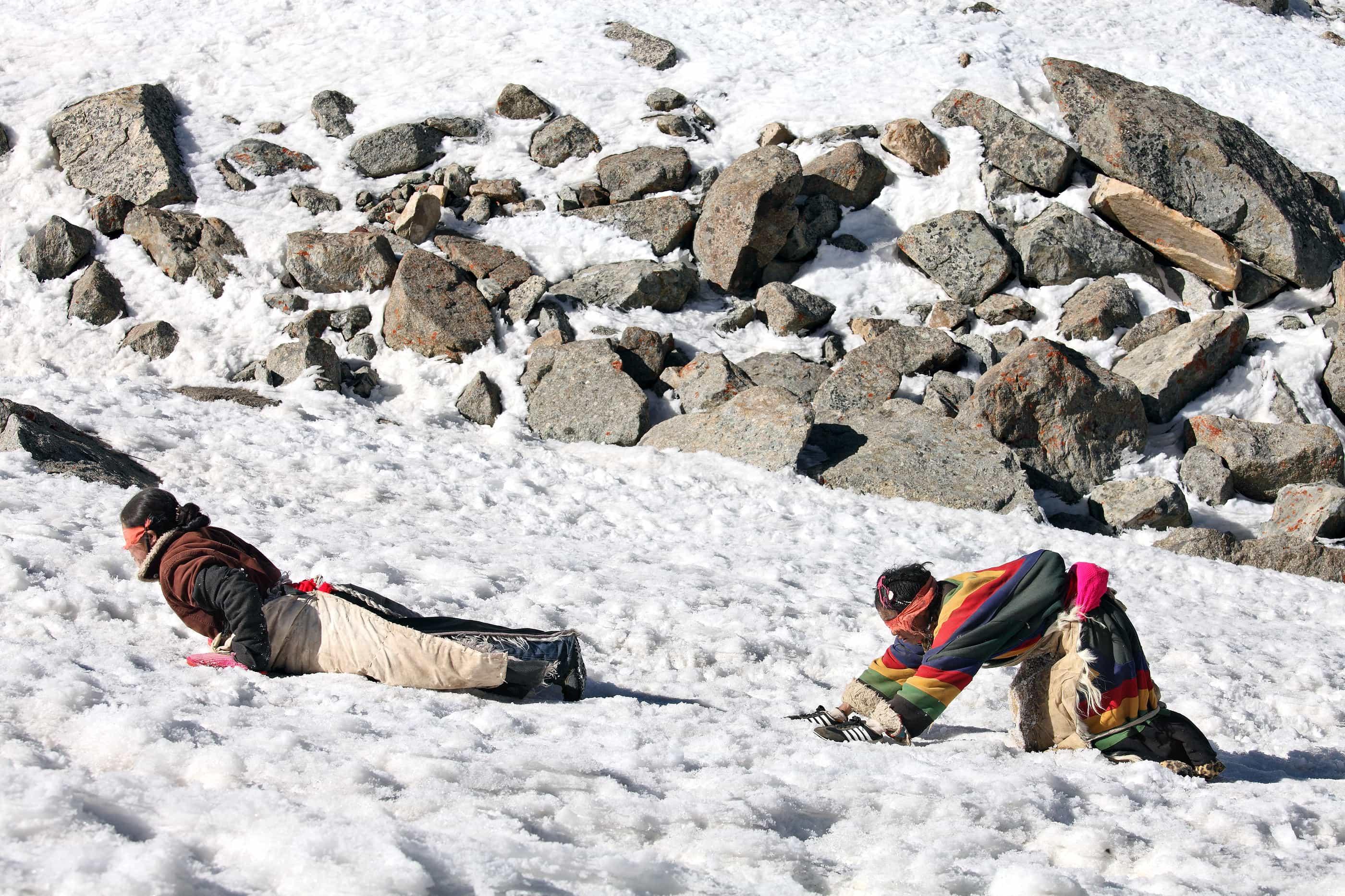 Mt Kailash, Tibet, China - May 26, 2012: Buddhist woman pilgrims