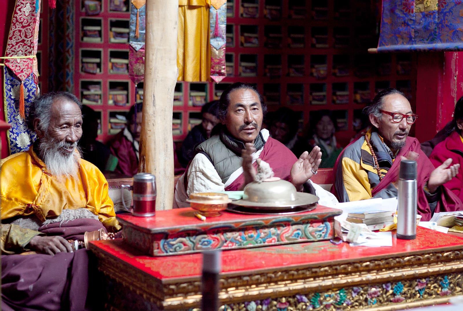 Tibetan Buddhist monks in Chiu monastery in Western Tibet
