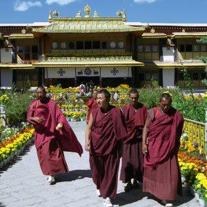 Tibetan monks in front of the Norbulingka