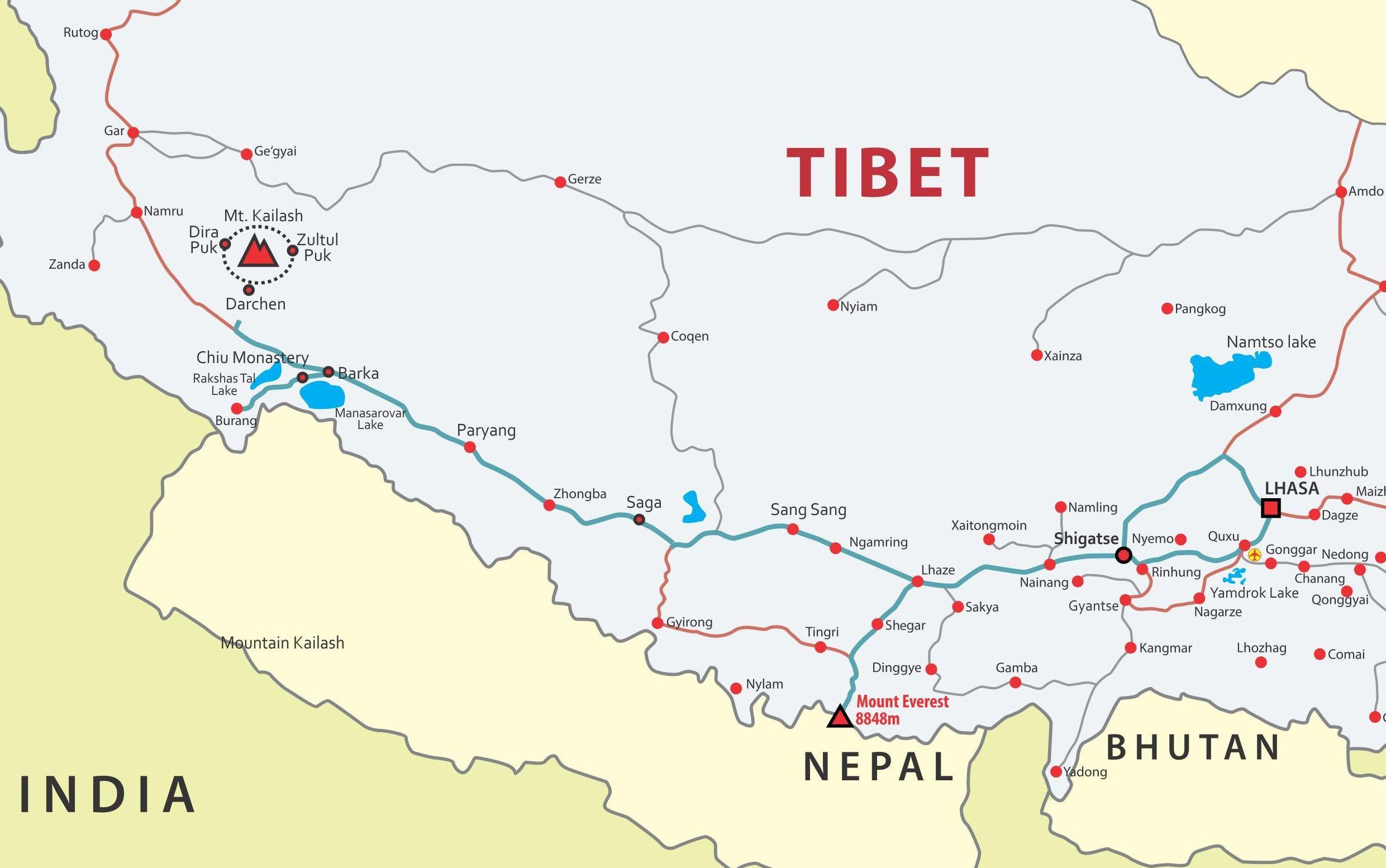 Lhasa to Mountain Kailash tour map