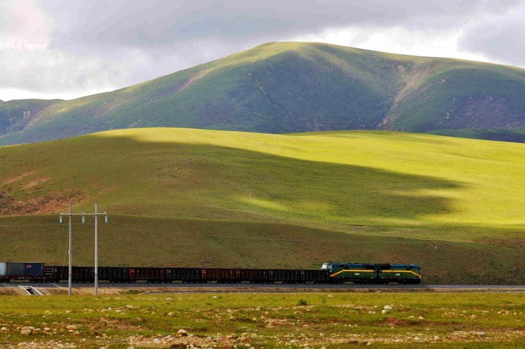 Train running on Qinghai-Tibet Railway