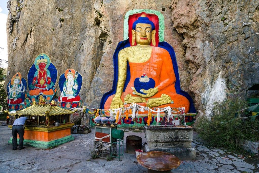 Buddha rock carvings near Lhasa in Tibet