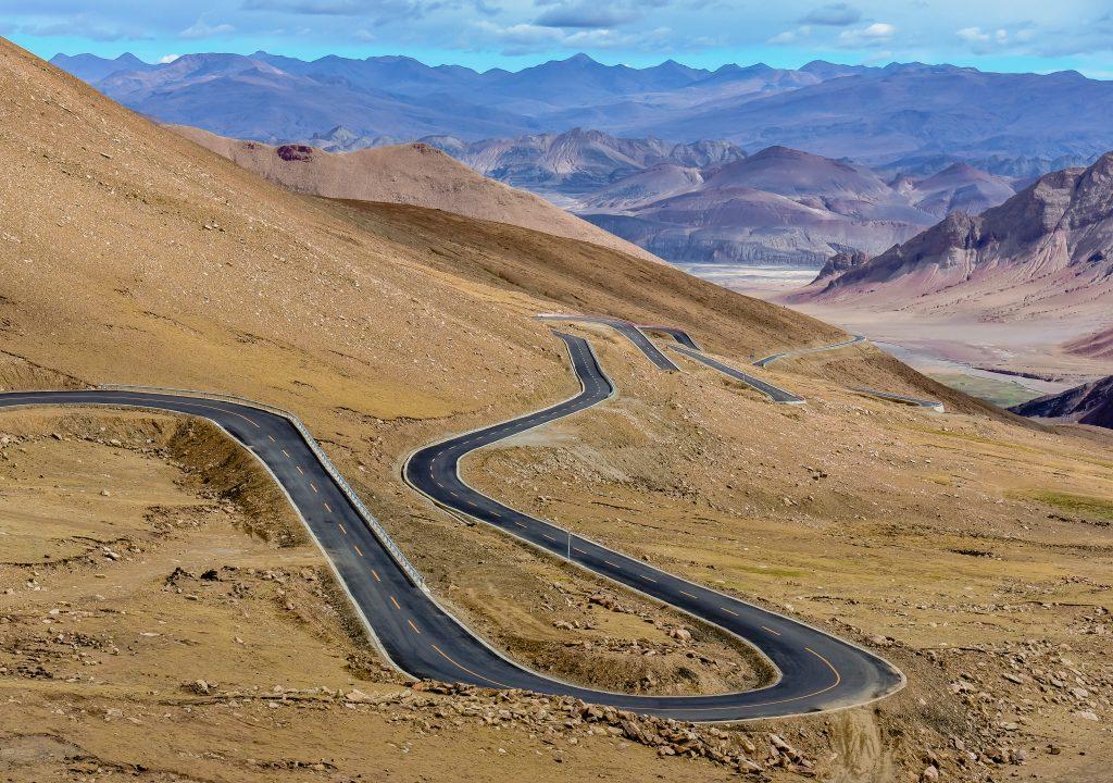 Mountain roads in Tibet