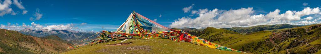 Prayer flags Tibet panorama