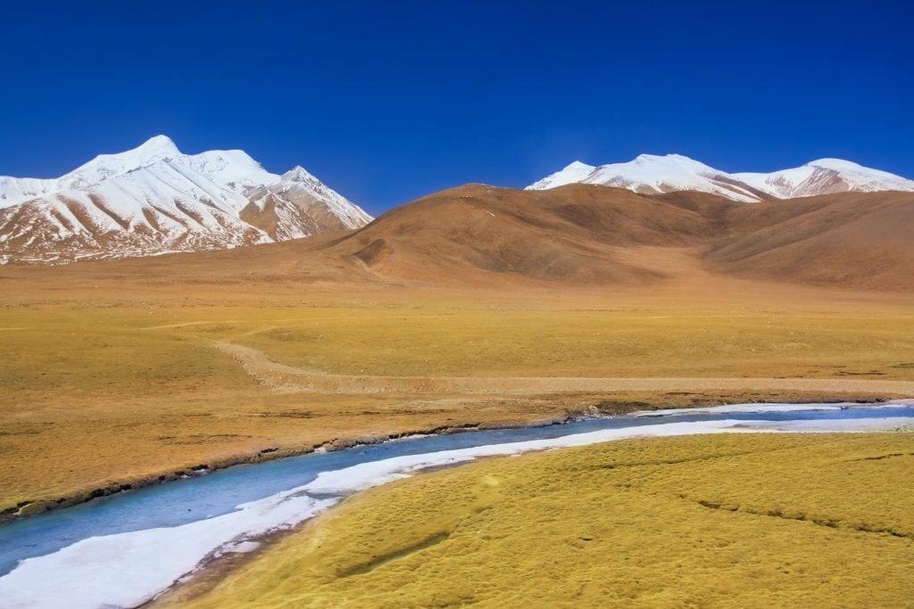 Tanggula mountain sen from a train on Qinghai Tibet railway