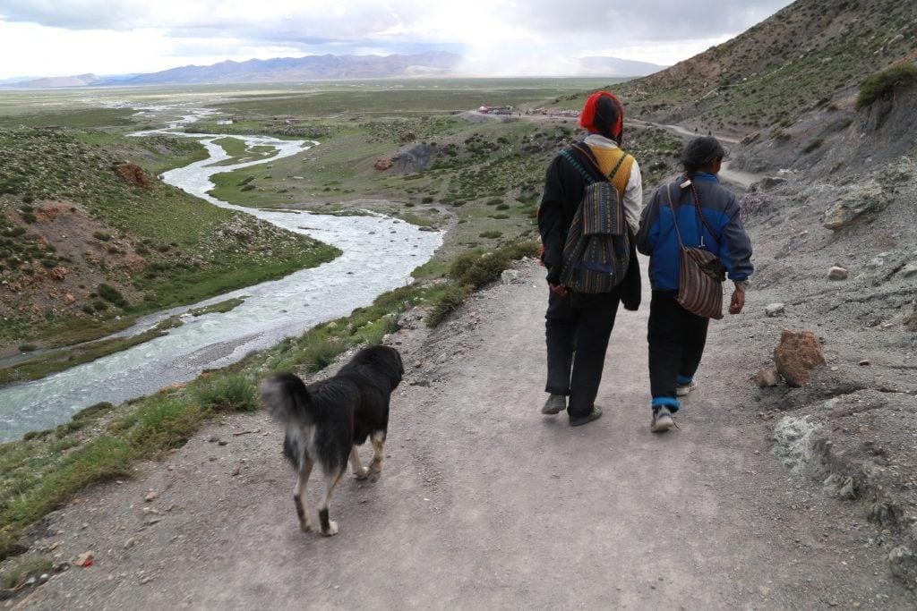 Tibetan pilgrims walking kora around Kailash