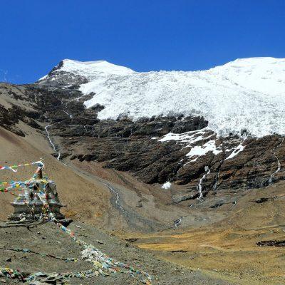 Karola Glacier with stupa and prayer flags in Tibet