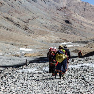 Pilgrims circumambulating Mount Kailash in Tibet