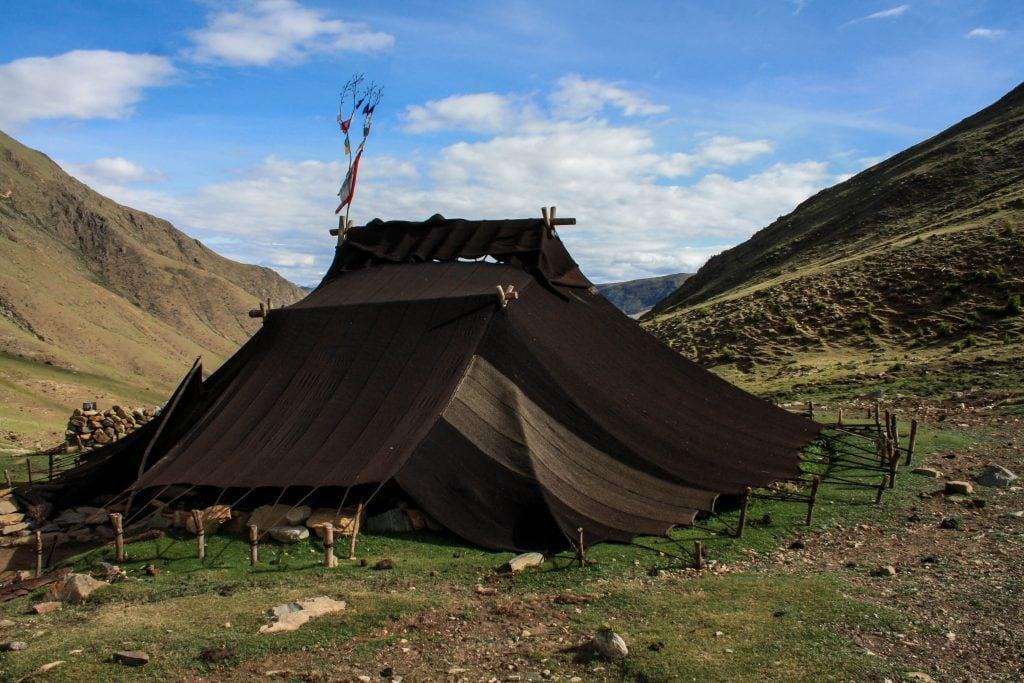 Traditional Tibetan yak wool nomad's tent