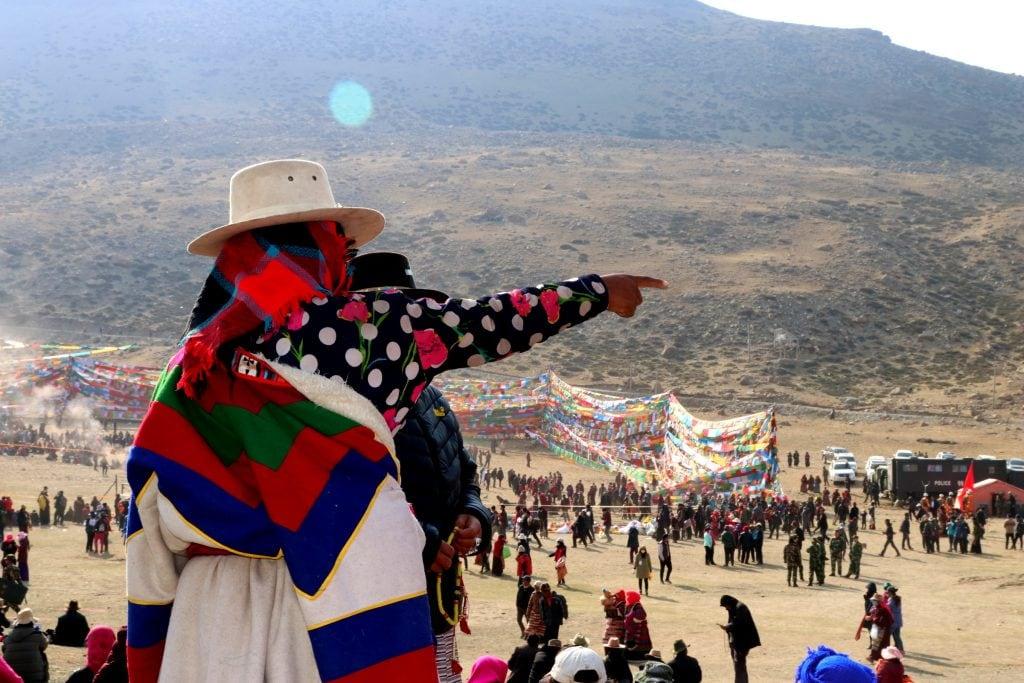 Tibetan pilgrim on Saga Dawa Festival at Mount Kailash