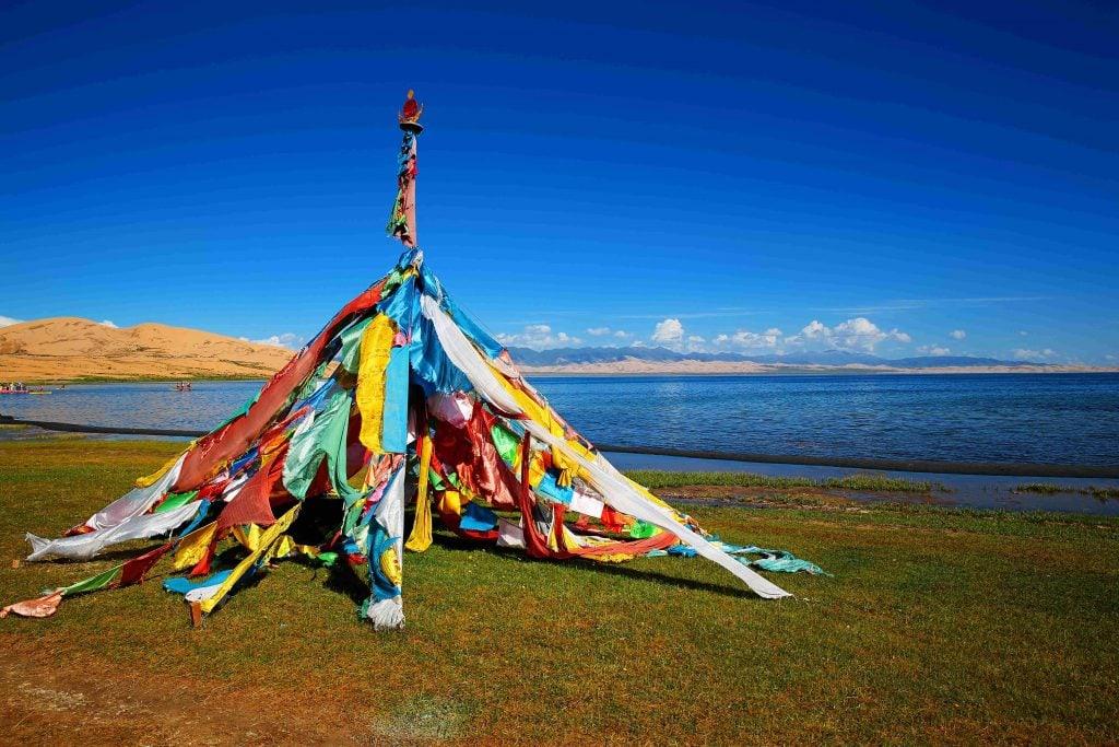 Prayer flags by the Qinghai Lake