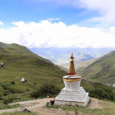 Stupa and valley view at Drak Yerpa