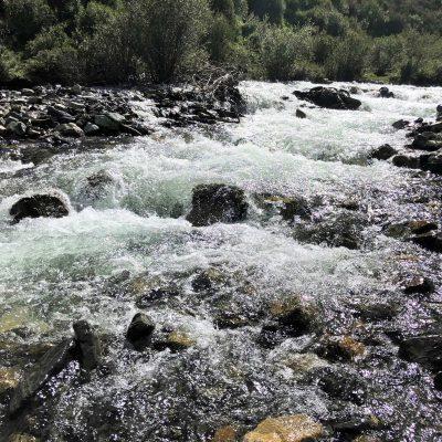 mountain river in Tibet on the trek route