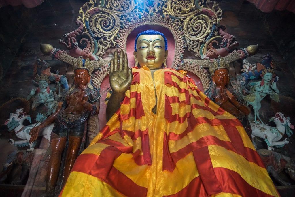 Buddha statue in Kumbum Stupa in Gyantse, Tibet