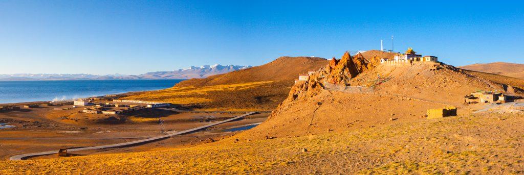 Chiu monastery by Manasarovar lake in Western Tibet
