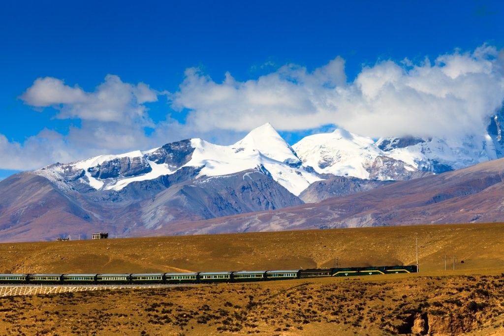 Train on a Railway in Tibet