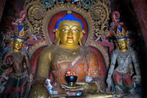Shakyamuni Buddha statue in Kumbum Stupa in Gyantse
