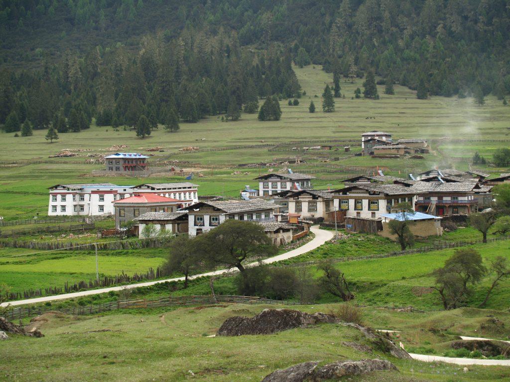 village in Lulang, Tibet