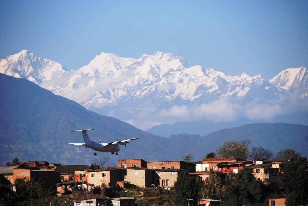 Plane landing at airport in Kathmandu