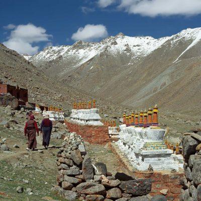 Tibetan women approaching Dira Puk Monastery on the Mount Kailash Kora