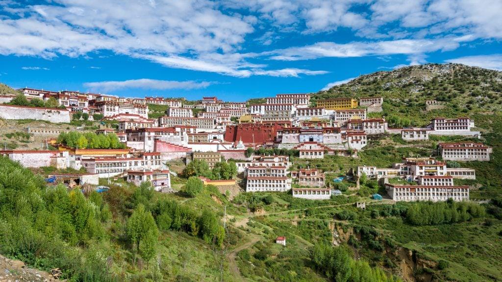 View on the Ganden Monastery in Tibet