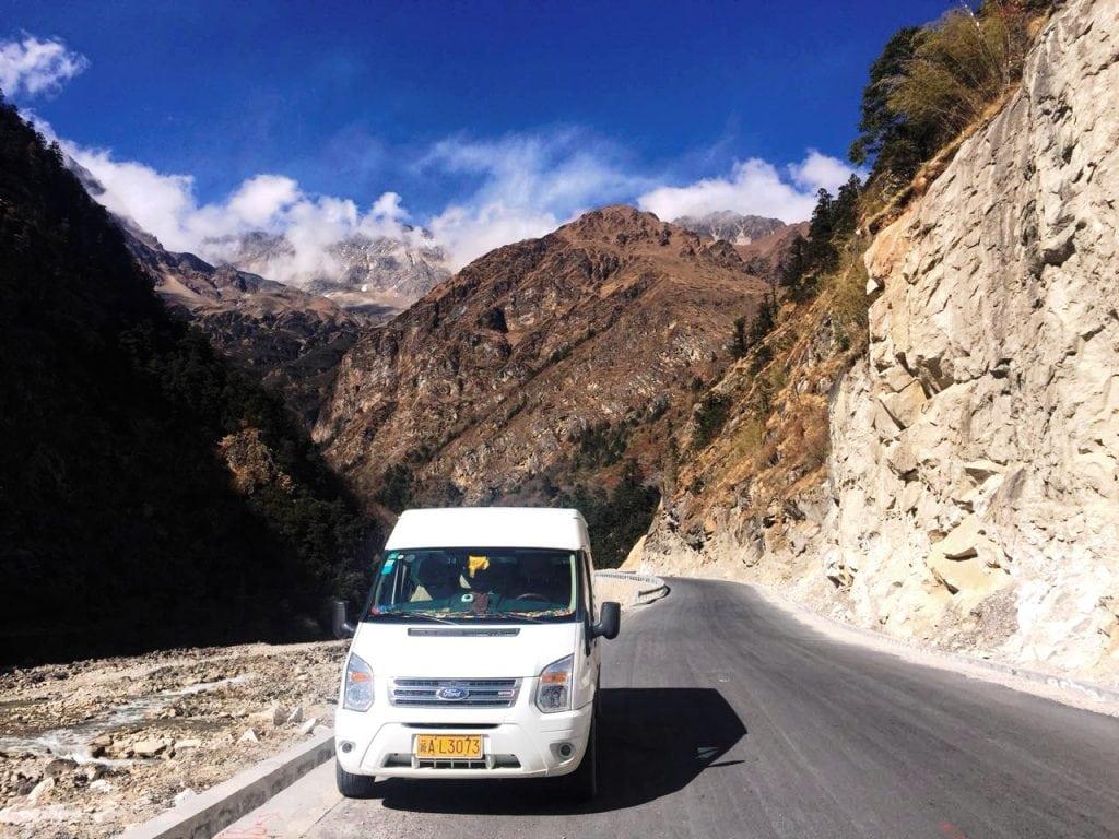 Driving towards Tibet-Nepal borded at Gyirong