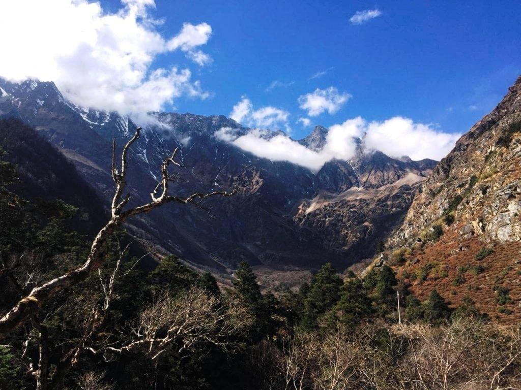 Himalayan mountain range near Tibet Nepal border