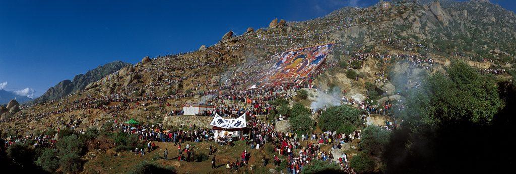 Drepung Monastery in Lhasa during celebration of Shoton Festival