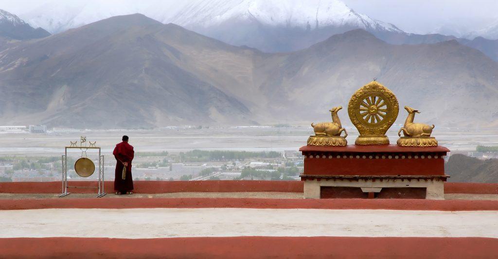 Tibetan monk in Drepung monastery in Lhasa