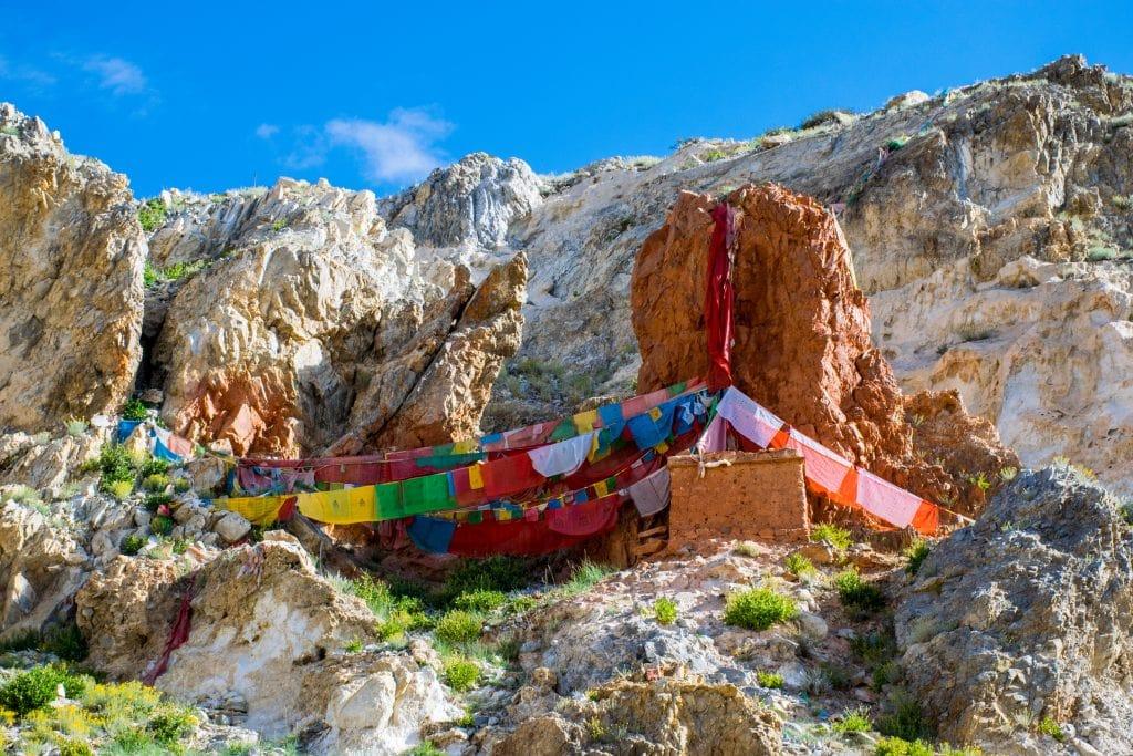 Tirthapuri Buddhist monastery complex near Sutlej river in Western Tibet