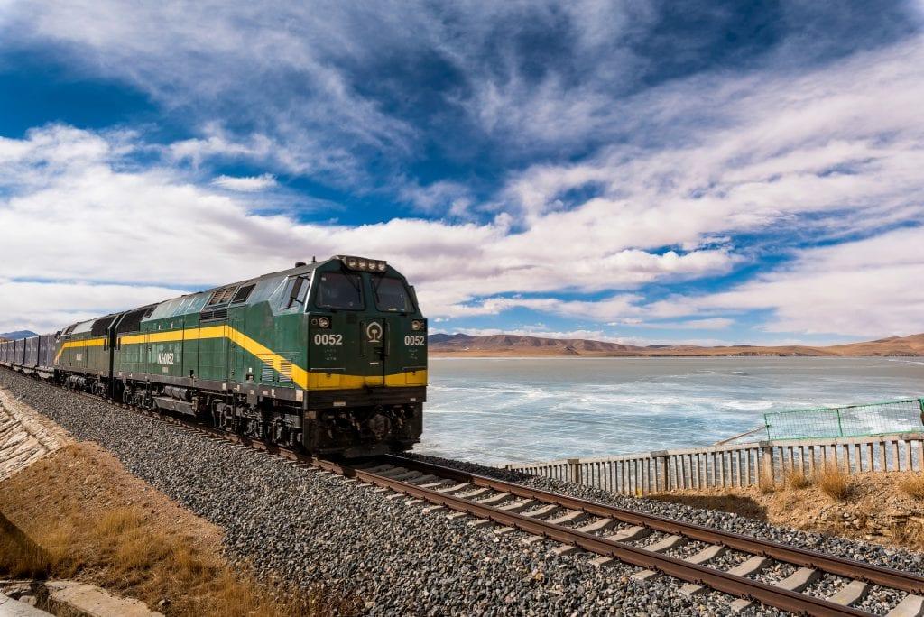 Train going through Tibetan plateau