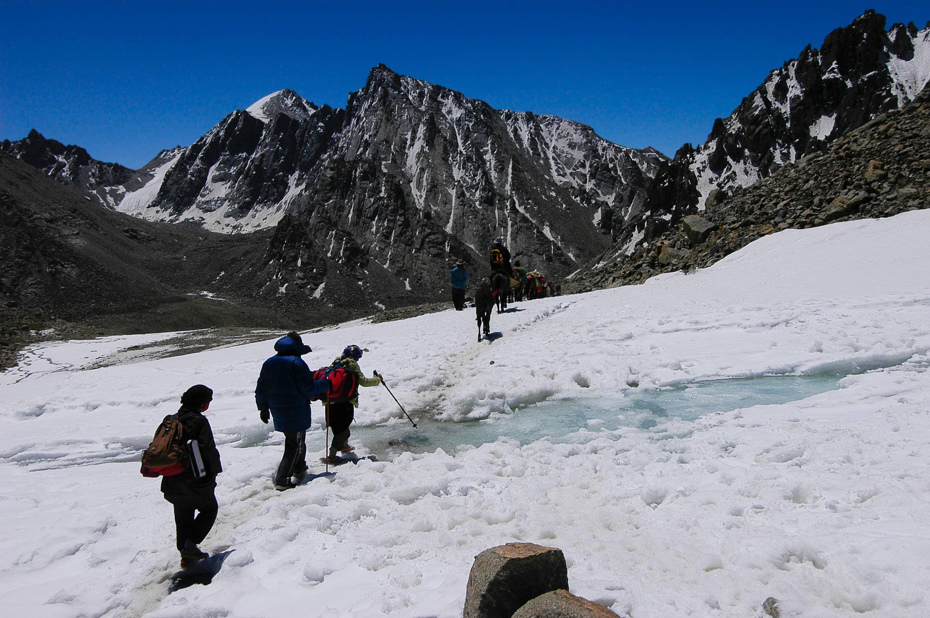Trekking around Mount Kailash in snow, Tibet