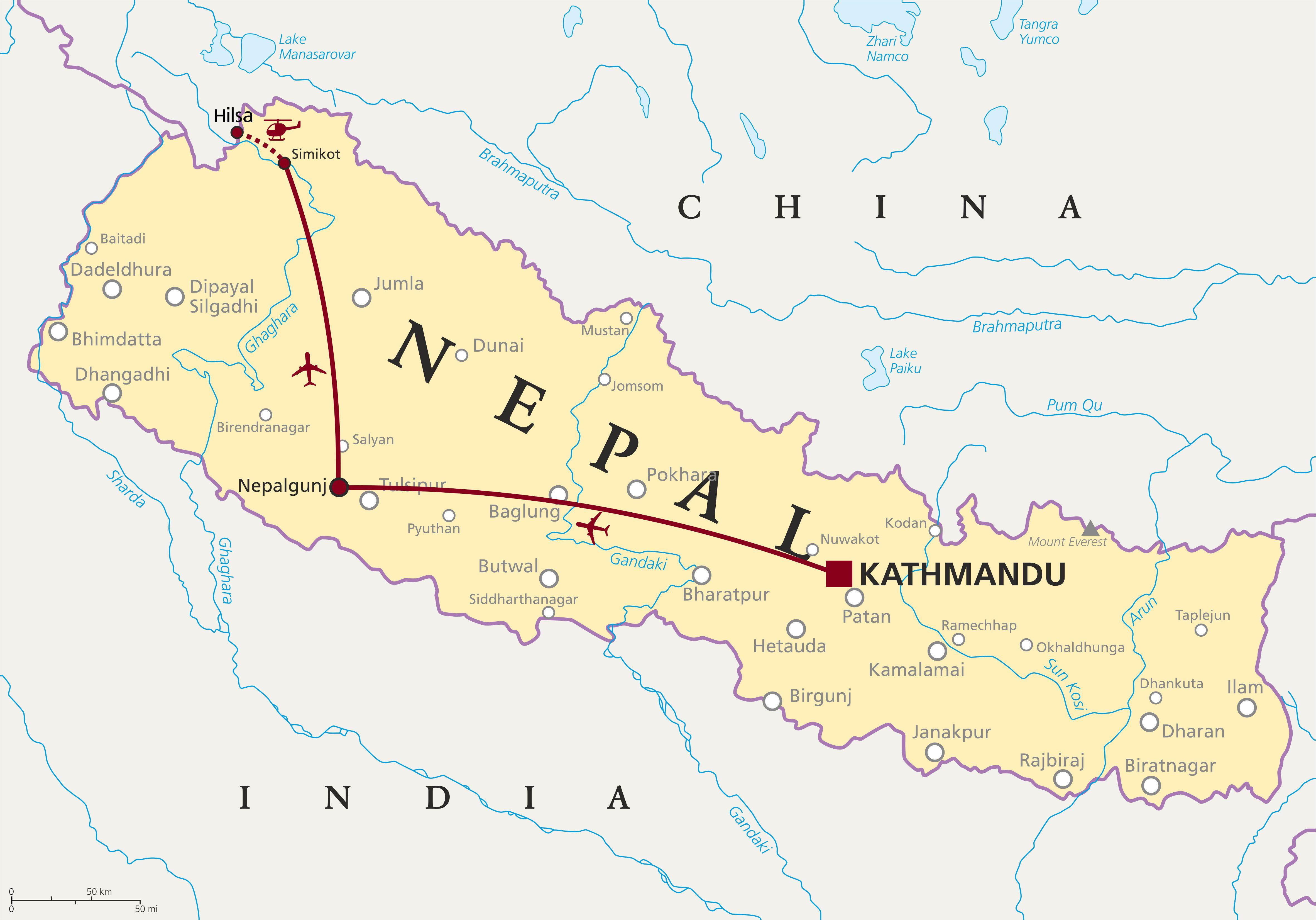 Nepal Map Kathmandu to Purong Tibet via flights and helicopter