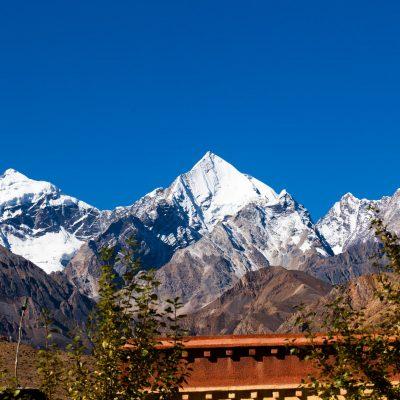 Snow Peak on Tibet-Nepal border by Tibet Burang county