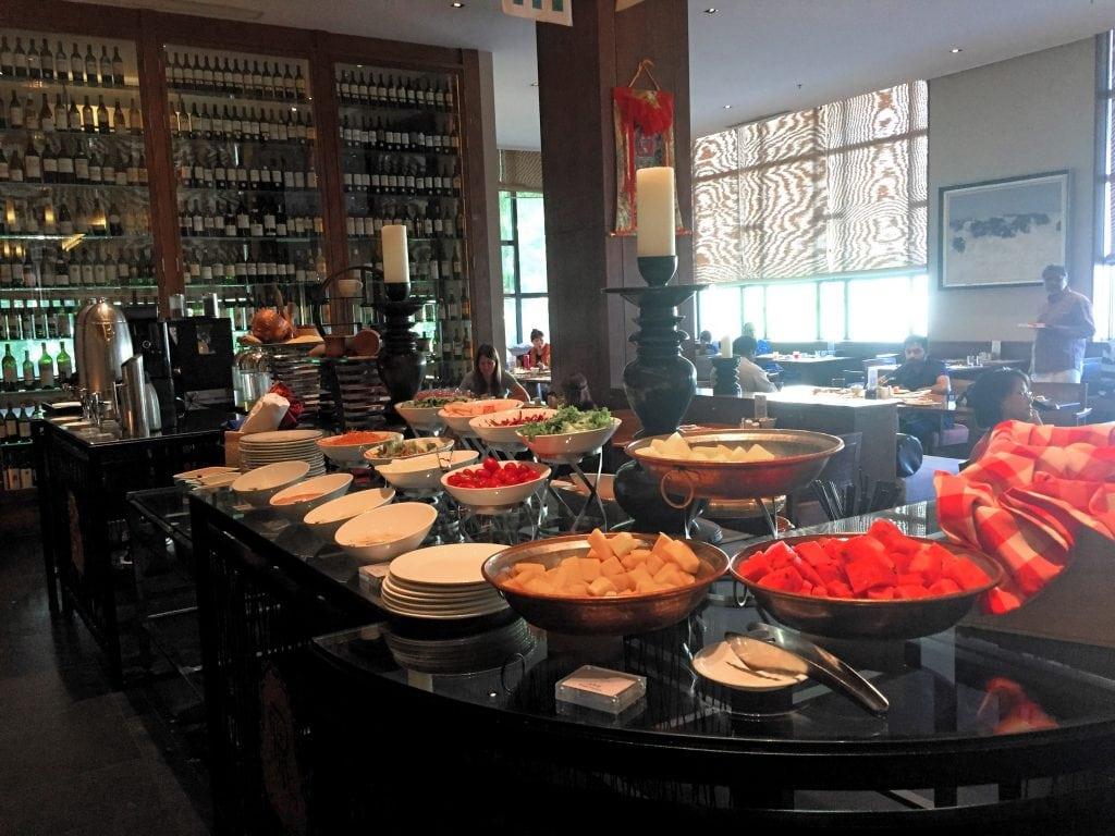 Breakfast buffet in St Regis hotel in Lhasa