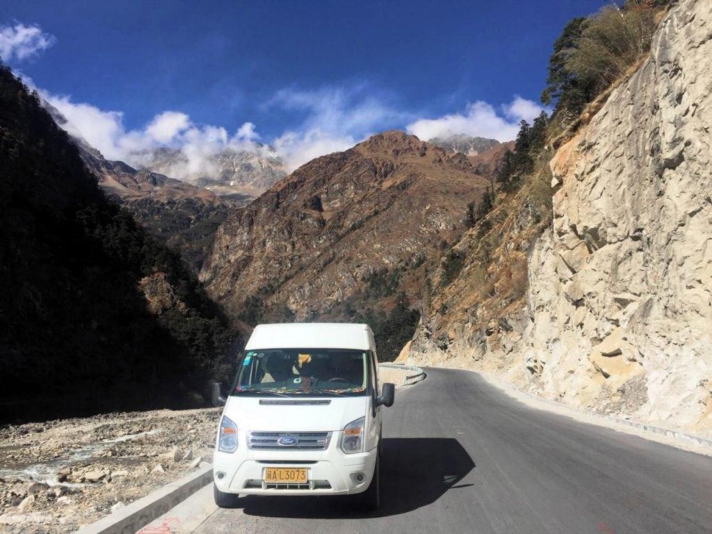 Driving through Himalayan mountains in Tibet
