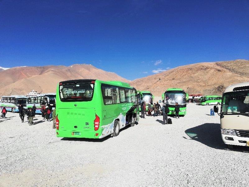 Green bus in Everest Region, Tibet