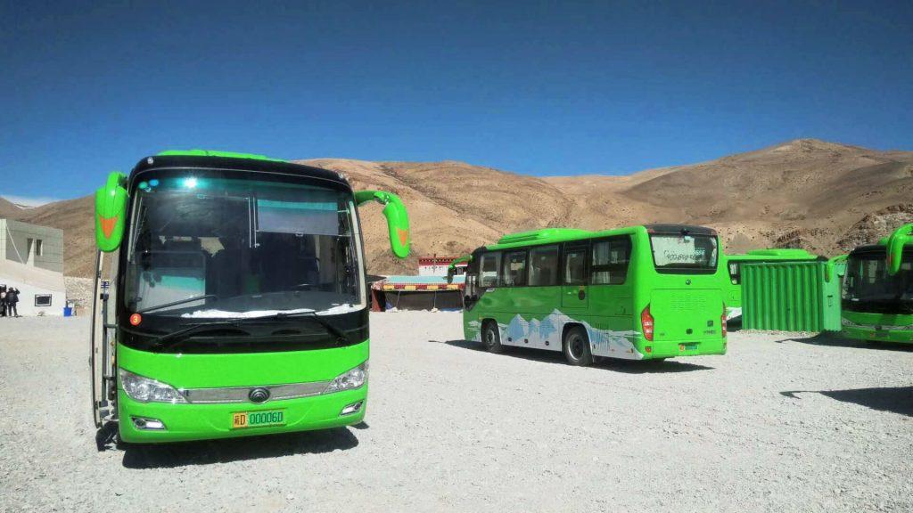 Green buses in Tibet