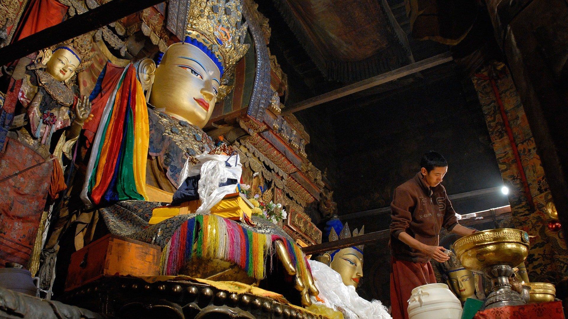 Large statue of Shakyamuni (Present) Buddha in Gyantse, Tibet
