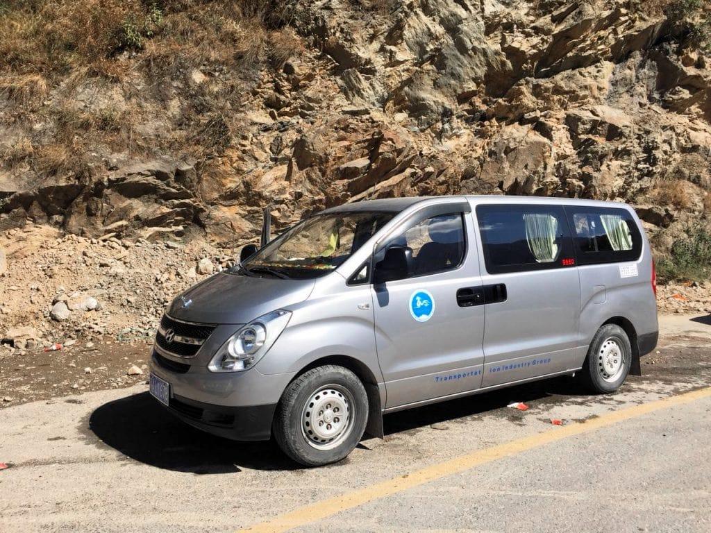 Minivan in Tibet
