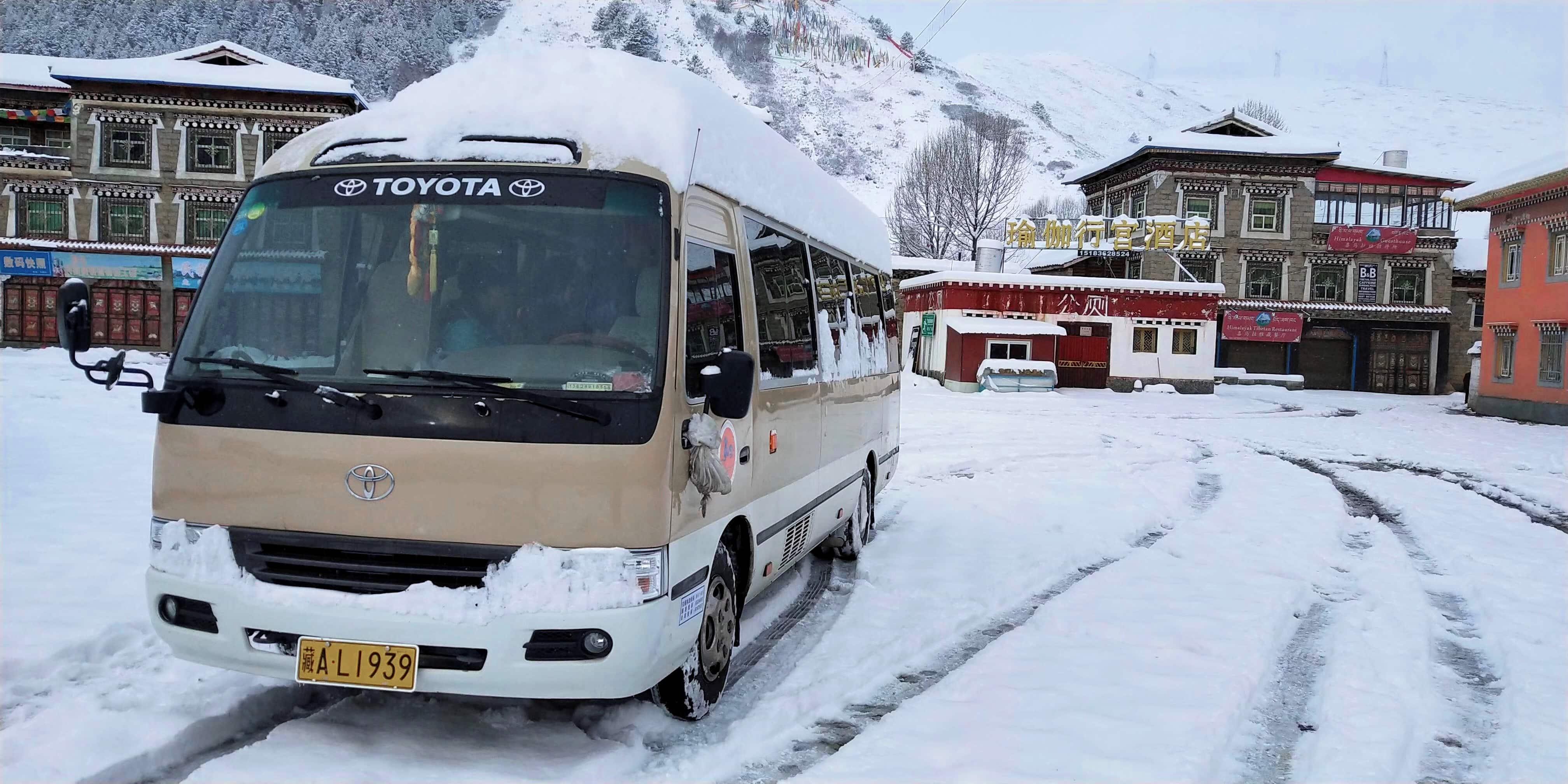 Minivan in winter