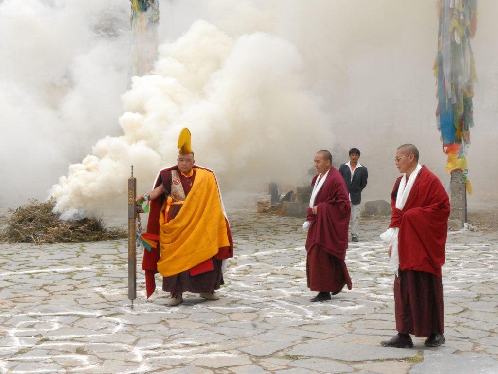 Tibetan Buddhist monk in Samye monastery in Tibet