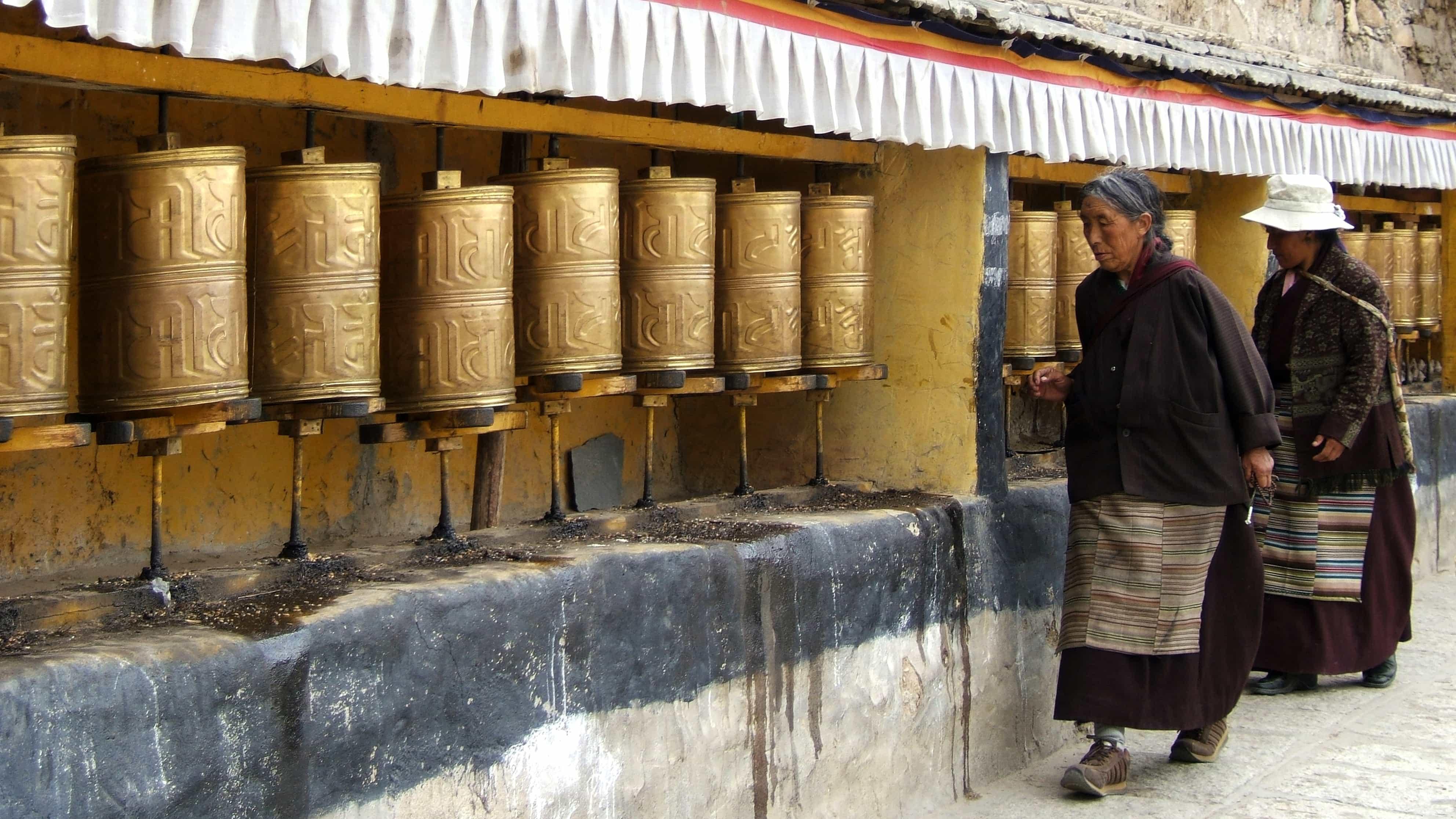 Tibetan women visiting Drepung Monastery in Lhasa