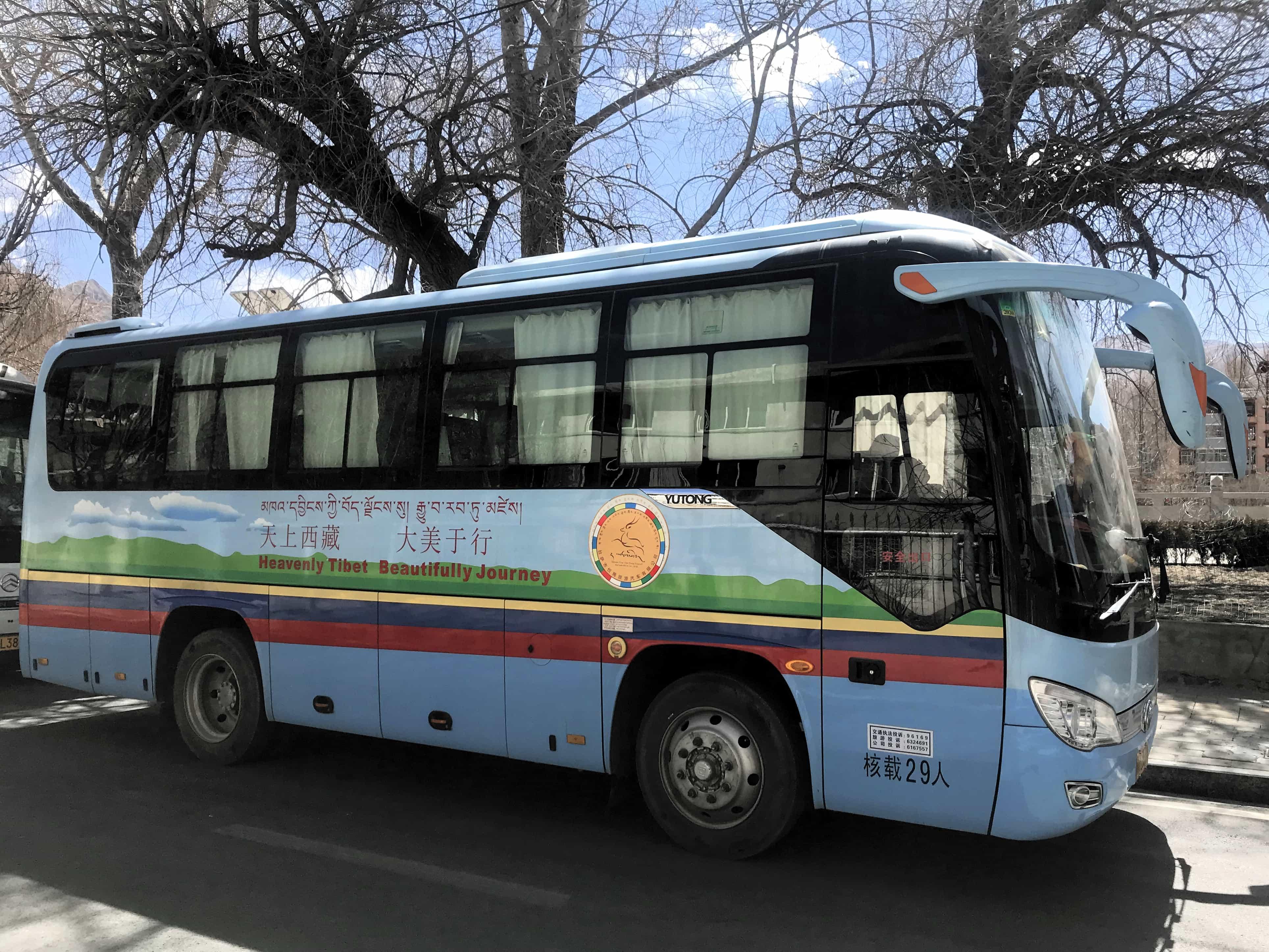 Tourist bus in Tibet