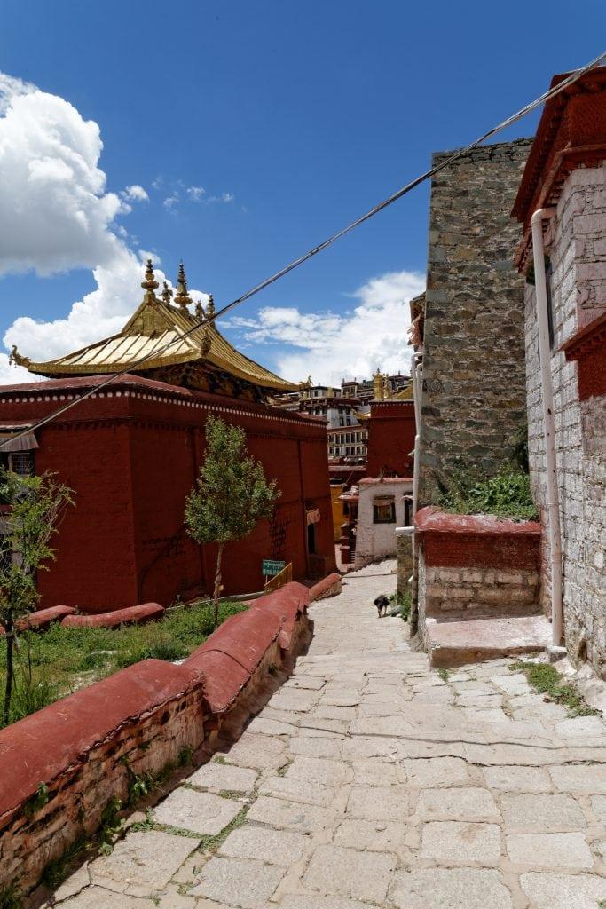 Narrow paths inside Ganden Monastery, Tibet