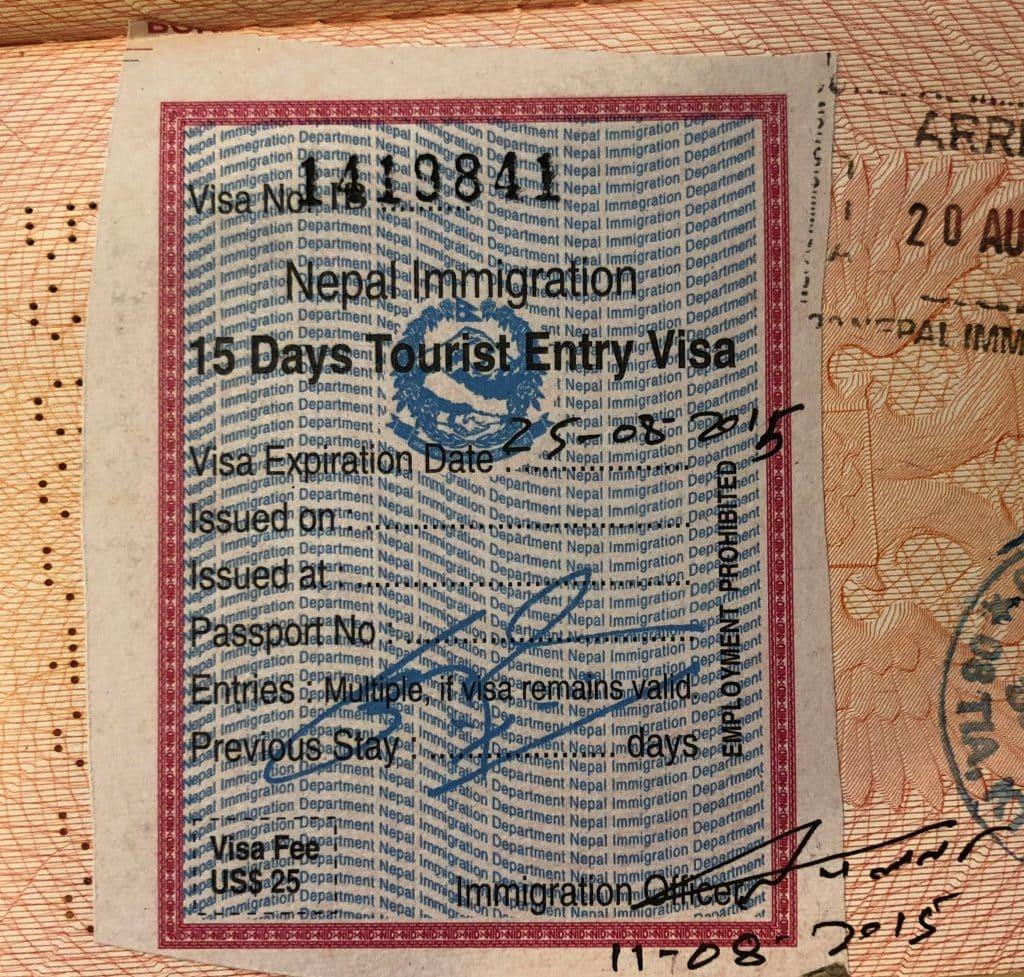 Nepalese tourist visa