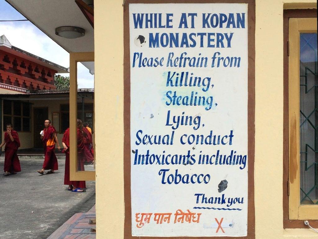 Rules for staying in Kopan monastery, Kathmandu