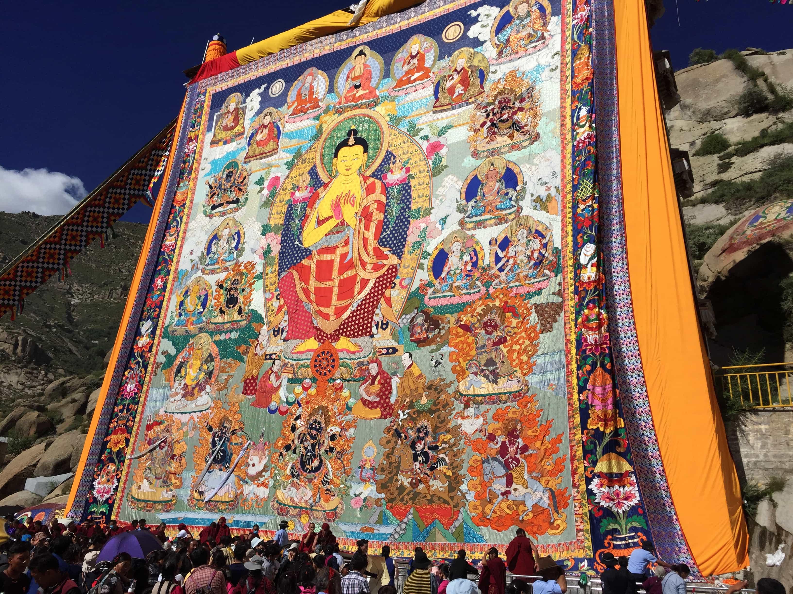 Shoton Festival Thangka - Buddha Painting display