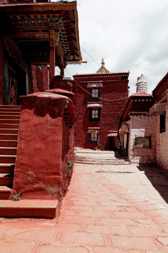 Walking inside Ganden Monastery complex in Tibet