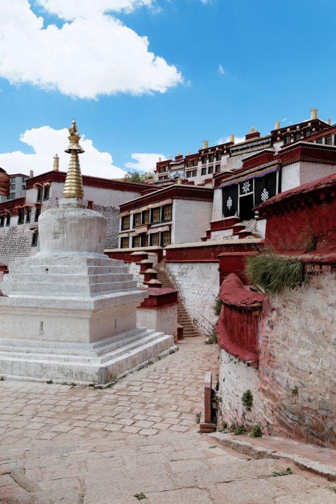 White Stupa in Ganden Monastery